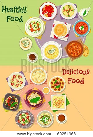 Comfort food icon set of italian pasta and spaghetti with meat, vegetable, cheese, fish, basil and seafood, risotto, vegetable salad, meat soups with tomato and bean, cheese cream soup, chicken pie