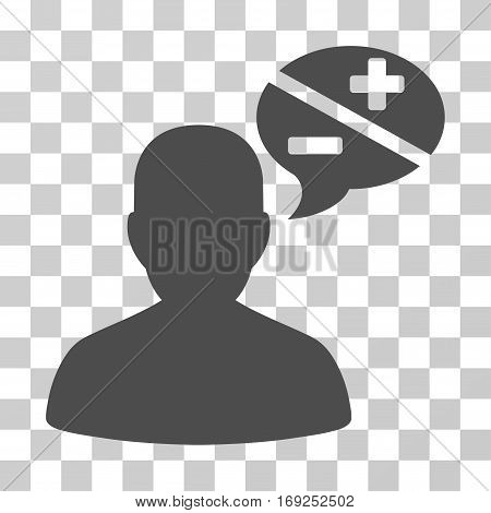 Person Arguments icon. Vector illustration style is flat iconic symbol gray color transparent background. Designed for web and software interfaces.