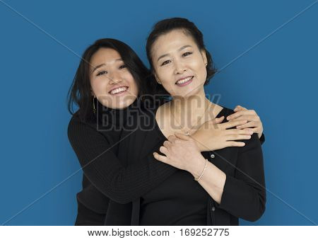 Asian Family Hug Smiling