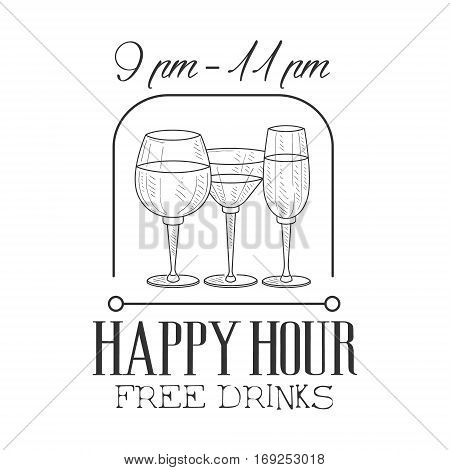 Bar Happy Hour Promotion Sign Design Template Hand Drawn Hipster Sketch With Wine And Cocktail Glasses. Cool Illustration With Advertisement Elements For The Cafe Free Drinking Time.
