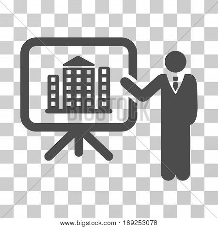 Realty Presention icon. Vector illustration style is flat iconic symbol gray color transparent background. Designed for web and software interfaces.