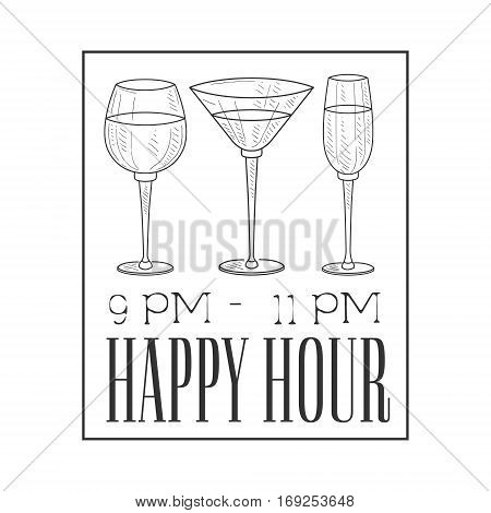 Bar Happy Hour Promotion Sign Design Template Hand Drawn Hipster Sketch With Glasses In Square Frame. Cool Illustration With Advertisement Elements For The Cafe Free Drinking Time.