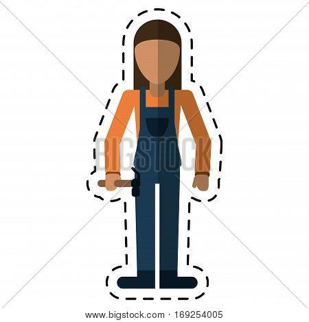 worker woman carpentry hammer helmet-dot line vector illustration eps 10
