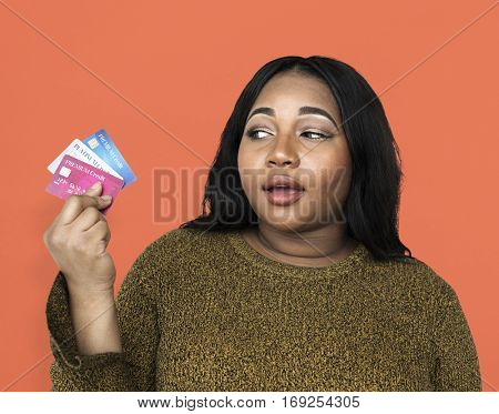 Woman Holding Credit Cards Concept