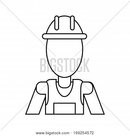 man with helmet uniform work professional contractor thin line vector illustration eps 10