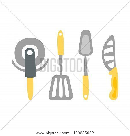 Set Of Kitchen Utensils And Different Knives Primitive Cartoon Icon, Part Of Pizza Cafe Series Of Clipart Illustrations. Vector Simplified Clip-Art Drawing Element.