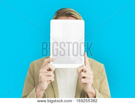 Man Holding Up Tablet Covering Face