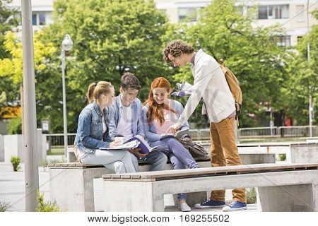 Happy young college friends studying together at campus