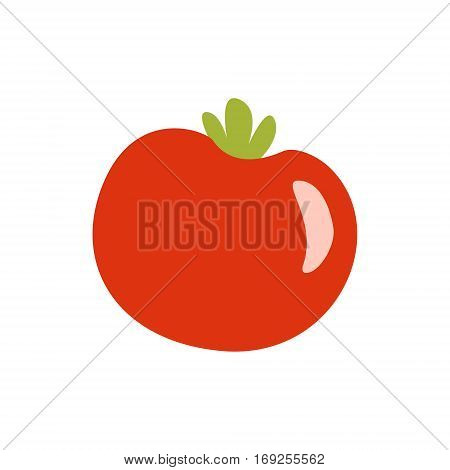 Fresh Red Glossy Tomato Vegetable Primitive Cartoon Icon, Part Of Pizza Cafe Series Of Clipart Illustrations. Vector Simplified Clip-Art Drawing Element.