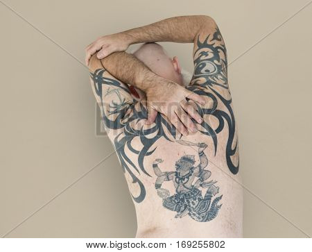 Senior Adult Man Rear View Hanuman Tattoo Spiritual Arts