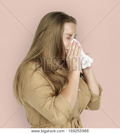 Caucasian Woman Sneezing Crying Tissue
