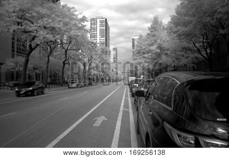 Infrared Black and White Photography Clark Street Chicago 750 nano meters