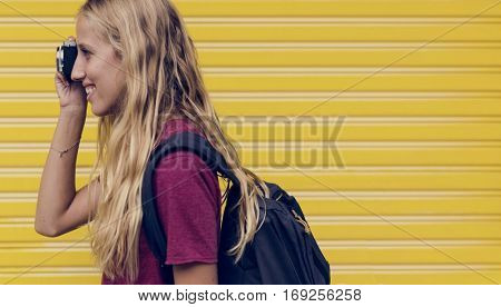 Woman taking a photo wall background
