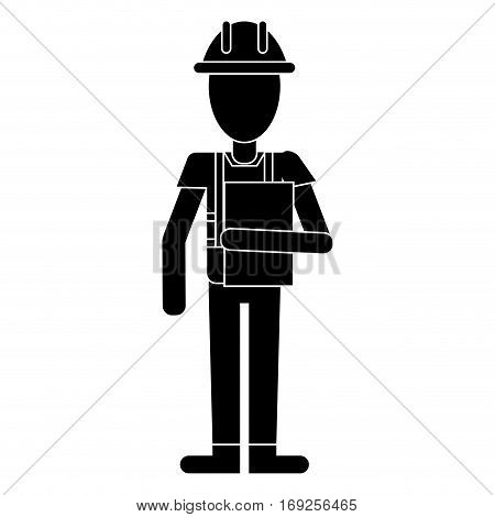 construction man overalls clipboard pictogram vector illustration eps 10