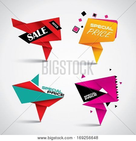 Sale banner set - origami design and colorful vector discount tags