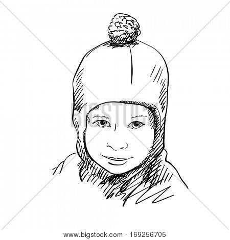 Face of little girl in balaclava hat with bubo, Hand drawn vector illustration