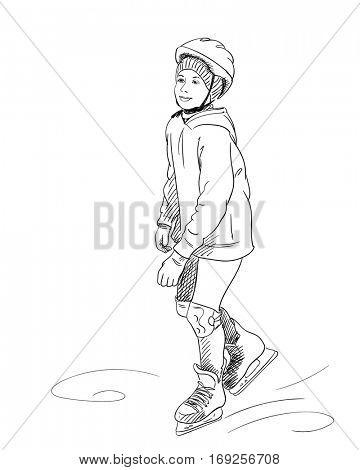 Sketch of girl skating in helmet, Hand drawn vector illustration