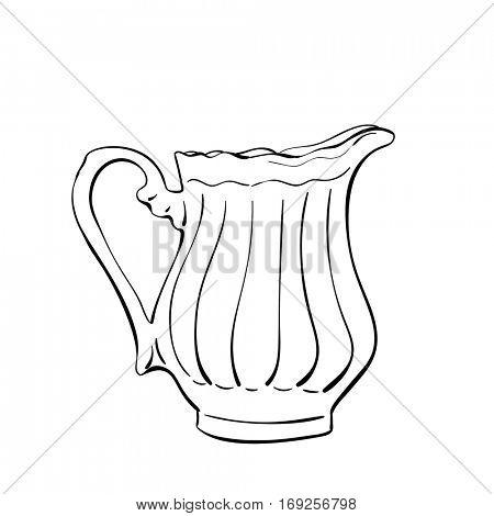 Milk jug isolated, Hand drawn illustration, Vector sketch