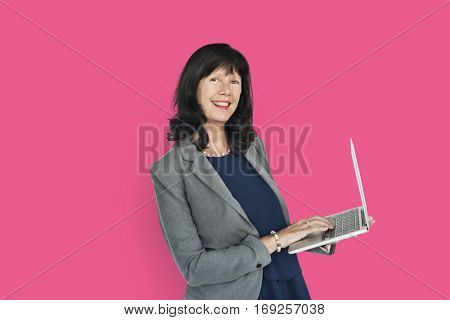 Caucasian Business Woman Cheerful Laptop
