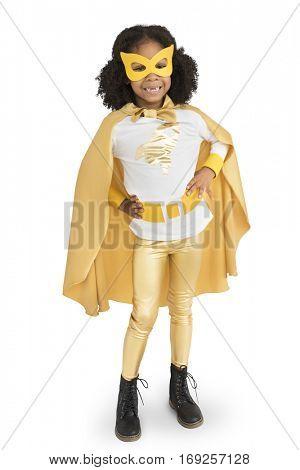 Little Girl Superhero kid Pose Smile Studio