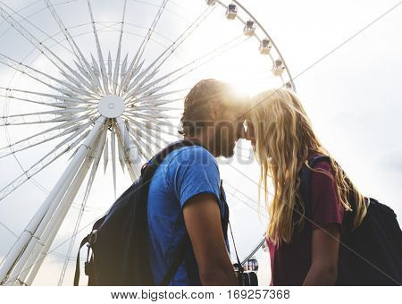 Couple staring at each other carousel background