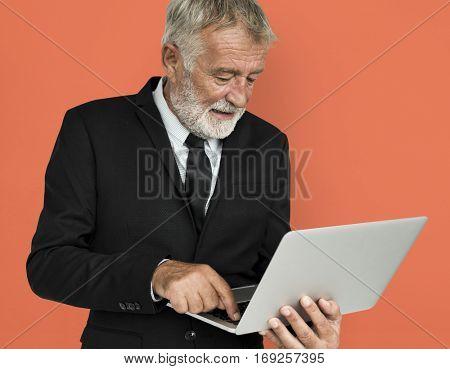 Caucasian Mature Business Man Laptop Concept