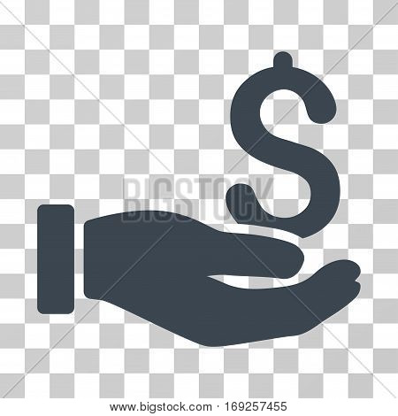 Earnings Hand icon. Vector illustration style is flat iconic symbol smooth blue color transparent background. Designed for web and software interfaces.
