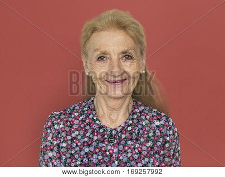 Mature Lady Smiling Studio Concept