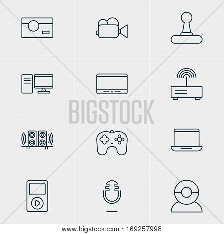 Vector Illustration Of 12 Accessory Icons. Editable Pack Of Joypad, Camcorder, Modem And Other Elements.