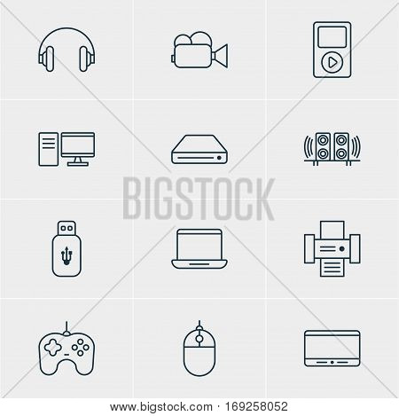 Vector Illustration Of 12 Accessory Icons. Editable Pack Of Loudspeaker, Joypad, Media Controller And Other Elements.
