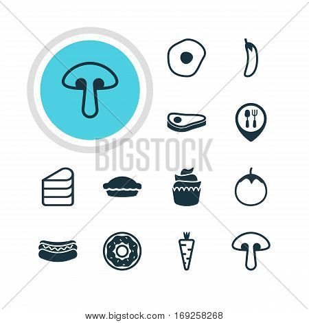Vector Illustration Of 12 Cooking Icons. Editable Pack Of Patisserie, Restaurant, Flan And Other Elements.