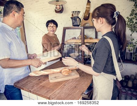 Small bakery business buying customer