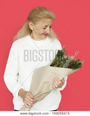 Woman Smiling Happiness Flower Bouquet Portrait Concept