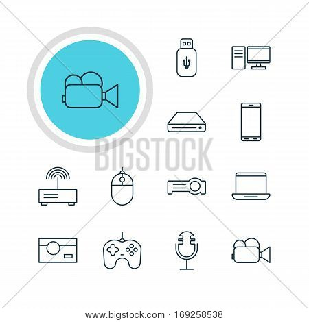 Vector Illustration Of 12 Hardware Icons. Editable Pack Of PC, Joypad, Modem And Other Elements.