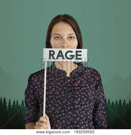 Woman holding rage flag covering her mouth