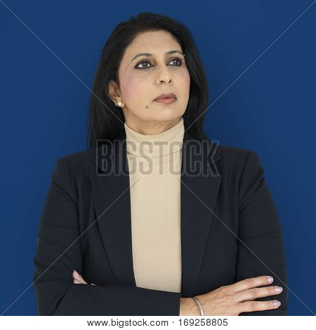 Woman Serious Studio Portrait Concept