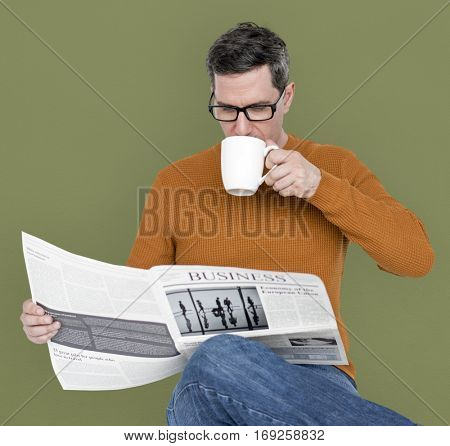 Man Reading Newspaper Information Coffee Drinking