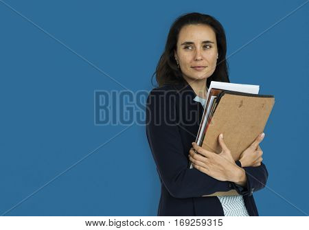 Caucasian Business Woman Documents Smiling