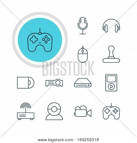 Vector Illustration Of 12 Device Icons. Editable Pack Of Joypad, Dvd Drive, Camcorder And Other Elements.
