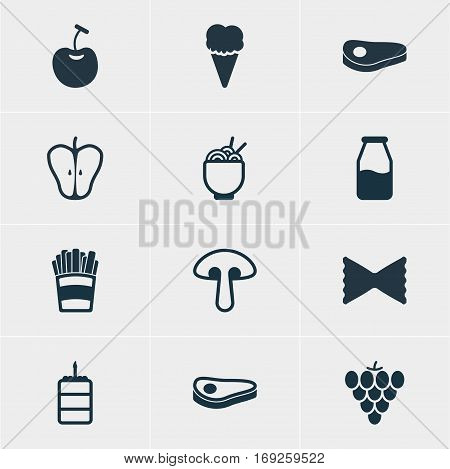 Vector Illustration Of 12 Cuisine Icons. Editable Pack Of Berry Type, Vineyard, Jonagold And Other Elements.