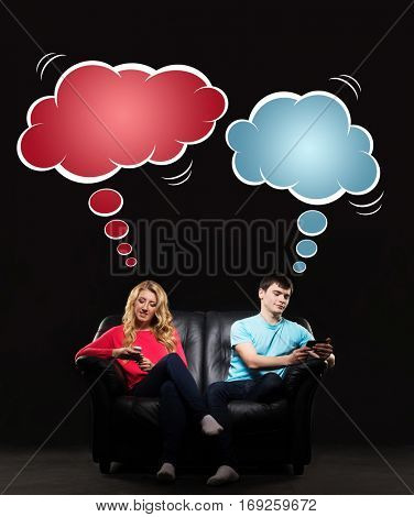 Young man and woman sitting on the sofa absorbed by their gadgets. Comics concept.