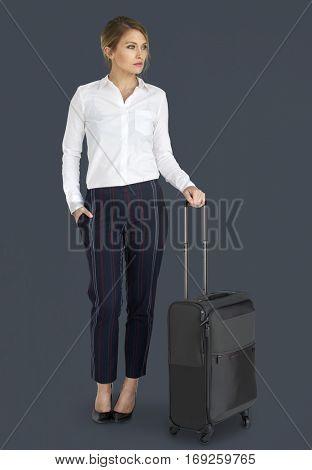Businesswoman Passenger Traveling Vacation Suitcase Concept