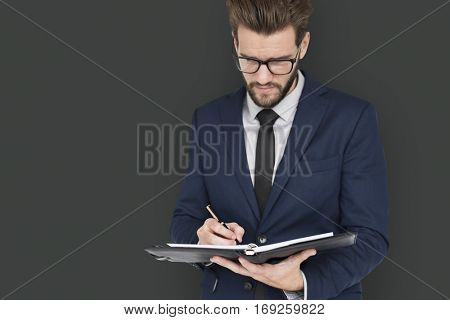 Caucasian Business Man Writing Notes