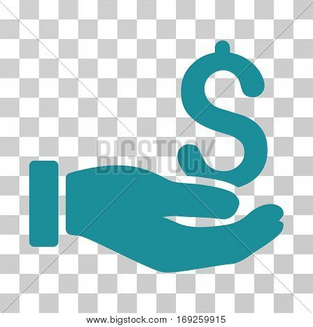Earnings Hand icon. Vector illustration style is flat iconic symbol soft blue color transparent background. Designed for web and software interfaces.