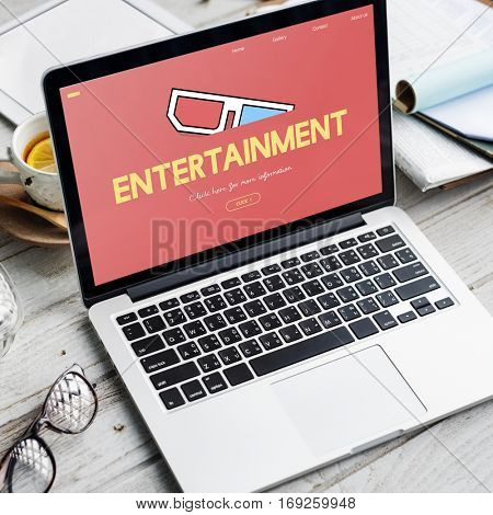 Entertainment 3D Glasses Movie Media Recreation Online Concept