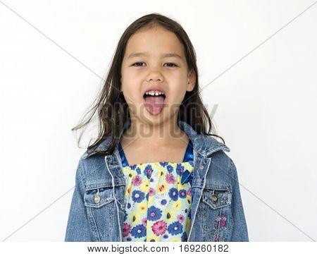 Little Girl Kid Tongue Out Portrait Concept