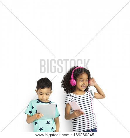 Little Boy Girl Listen Music Entertainment Studio