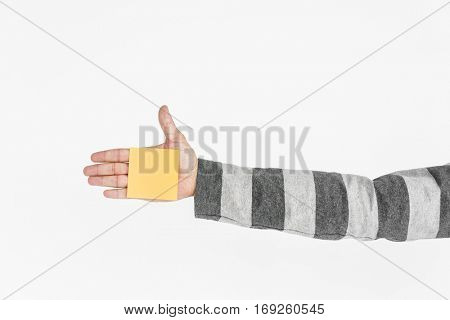 Human Hand Holding Post It Adhesive Note Copy Space Concept