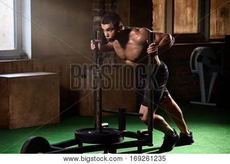 Young sportsman exercising and flexing muscles on exercise machine in gym