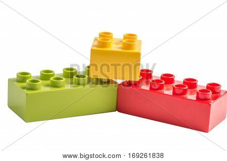 Lego building blocks isolated on white background